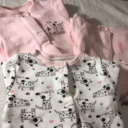 0-0 Newborn Spotty Dog Sleepsuits.
